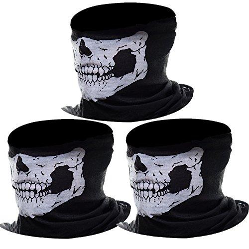 eBoot Ghost Skull Maschera Mezzo Cranio Maschera Facciale Moto Maschera (Nero, 3 Pack)