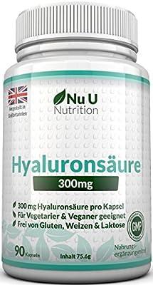 Nu U Nutrition Hyaluronsaeure Kapseln Dreifache Staerke VEGETARISCH & VEGAN SOWIE FREI VON GLUTEN, WEIZEN & GMO 300mg. pro Kapsel 90 Kapseln (3 Monatsvorrat)