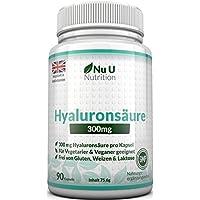 Hyaluronsäure Kapseln 300mg - 90 Kapseln (3 Monatsvorrat) – Mikro-molekulare kDa - Dreifache Stärke im Vergleich zu vielen Marken von Nu U Nutrition