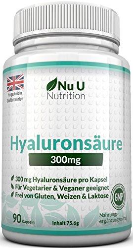 Hyaluronsäure 300mg - 90 Kapseln (3 Monatsvorrat) – Mikro-molekulare kDa - Dreifache Stärke im Vergleich zu vielen Marken von Nu U Nutrition