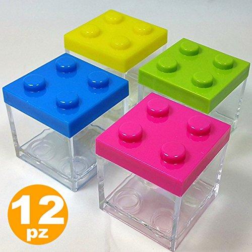 Tradeshoptraesio - 12 bomboniera bomboniere portaconfetti scatola mattoncini costruzioni lego block