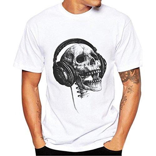 T-Shirt Herren Mode Sommer T-Shirts Mode Männer Kurzarm O-Neck Drucken Top Slim Fit Modal Hemden (L, Weiß)