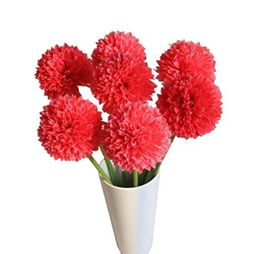 Longra Wohnaccessoires & Deko Kunstblumen 5pcs Lavendel Ball künstliche Seide Blumen Blumenstrauß Home Hochzeit Party Dekoration Künstliche Fake Blume (red)