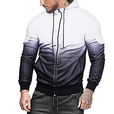 BaZhaHei Mens' Autumn Winter Hoodie Long Sleeve Tshirts Splicing Fold Hooded Top Mens Blouse Casual Outwear Sports Shirt Gym Crop Tops Mens Hooded Coat Fashion Sweatshirt