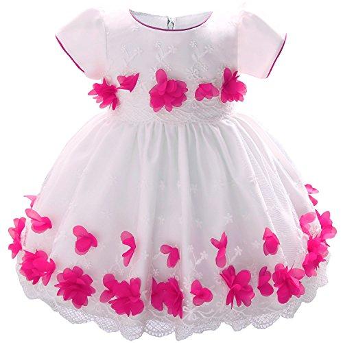HUANQIUE Baby Mädchen Prinzessin Kleider mit Blütenblätter Blumenspitze Taufkleid Partykleid Magenta 80