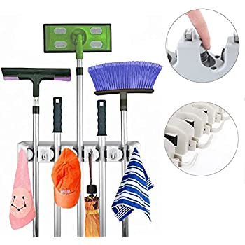 Jarvan Broom Mop Holder, 5 position with 6 hooks Holds up to 11 Tools Storage solution for Your Home Closet Garage Shed,Easy Solution for Mop and Broom Holder Storage Issues
