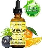 VITAMIN C ACAI BERRY Olio. Olio viso idratante. Anti-aging, rigenerante e nutriente. 20% di vitamina C e 100% puro olio di bacca di acai. 15 ml. da bellezza botanica.