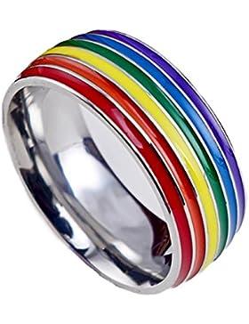 YAZILIND Titan Stahl Regenbogen Ringe Mode einfache Party Rock Band ring Multi Größe optional