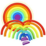 Holz-Regenbogen-Stapler für Lernspielzeug, Geometrie, Bausteine mit Ablagefach für Kinder im Vorschul-Lernen.