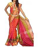 Fashion Flowerz Uppada Silk Saree With Blouse Piece (Multicolor_Free Size)