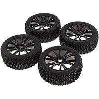 Sharplace 4X Llantas y Neumáticos Ruedas 17 mm Hub Color Negro Accesorios para 1:8 RC Coche Vehículo Todoterreno HSP HPI