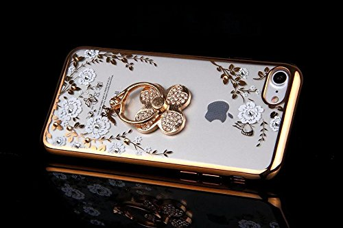 Coque pour iPhone 6 Plus.iPhone 6 Plus Transparent Coque en Silicone iPhone 6S Plus Clear Coque Romantique Élégant Fleur Papillon Motif avec Luxe Glitter Diamant Strass Coque en Souple Coque Placage p Placage OR,Trèfle à quatre feuilles Bague
