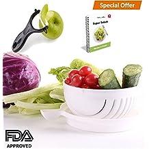 FabQuality premium Cuchillo de cortador de ensalada, cuchillo de cortador de vegetales - Haga su ensalada en 60 segundos con bono Ebook y Peeler incluido