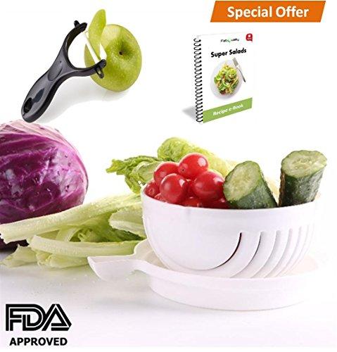 FabQuality premium Cuchillo de cortador de ensalada, cuchillo de cortador de vegetales...