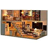 HshDUti Mini blocs de construction jouets d'assemblage de DIY 3D, maison de poupée miniature en bois de musique légère 1#
