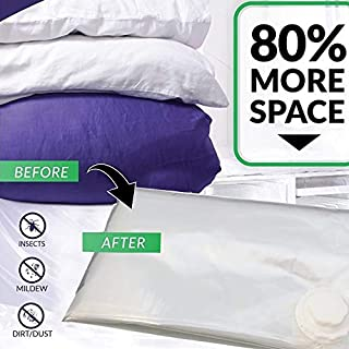 Lavender Scented Space Saver *Jumbo Vacuum Storage Bags* [Works With Any Vacuum Cleaner] Turbo-Valve for Maximum Compression, [80% More Storage Space than other Bags!] 100cm x 80cm