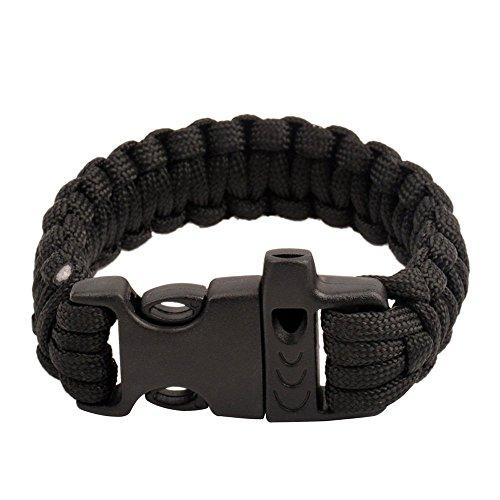 ruifu Paracord Bracelet de Survie avec Built en Fire Starter et sifflet pour randonnée Camping Aventure noir Noir
