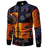 ♫♫ Amlaiworld Bequeme bunt Muster drucken Langarmshirts Mode Fitnesss Winter Herbst Pullover Coole Herren Sport Sweatshirt Joggen weich Outdoor Jacken