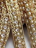 Goldene Zierborte bestickt mit Perlen und Strasssteinen, Applikation, Paspel für Hochzeitskleid, 91,4 cm