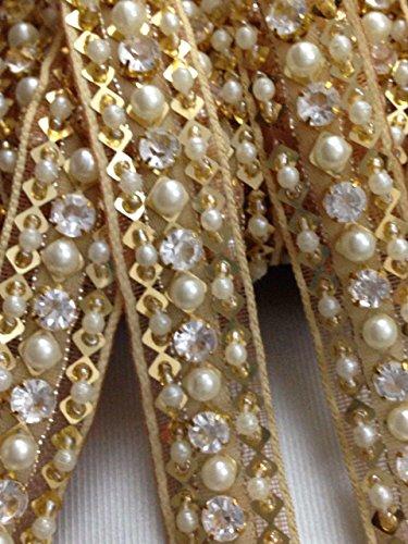 Goldene Zierborte bestickt mit Perlen und Strasssteinen, Applikation, Paspel für Hochzeitskleid,...
