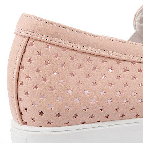 VogueZone009 Damen Ziehen Auf Rund Zehe Niedriger Absatz Pumps Schuhe Pink