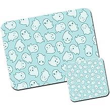 Kawaii cupcakes dulces corazones de calaveras gatos alfombrilla de ratón/Pad y posavasos Kawaii Cute Cheeky Ghosts