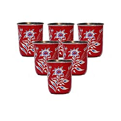 eCraftIndia Set of 6 Handpainted Decorative Steel Glass - 107 Red Color