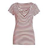 LOPILY Basic Gestreiftes Oberteil Umstandstop Kurzarm Still Shirt Lässiges Oberteil für Schwangerschaft Still Nursing Shirts mit Wickeln Schicht (Rot, EU-38/CN-M)