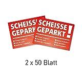 """Blocchetto per il parabrezza con stampa in lingua tedesca """"Scheiße geparkt!"""", 50 fogli, DIN A7, con diverse possibilità di scelta tramite spunta: Verkehrssünder, Verkehrsrowdys, Parksünder, colore: rosso."""