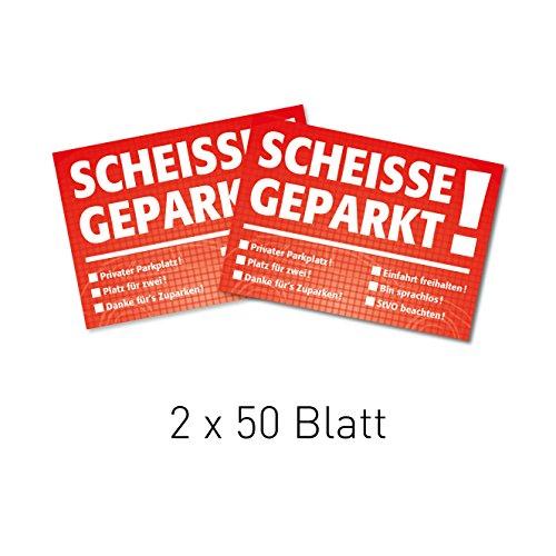 easydruck24 2X Notizblock Scheiße geparkt!, für die Windschutzscheibe, rot, Block à 50 Blatt, DIN A7, mehrere Auswahlmöglichkeiten zum Ankreuzen, Verkehrssünder, Verkehrsrowdys, Parksünder (2)