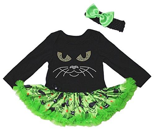 Halloween Dress strass viso di gatto nero l/s Body Cute Cats tutù Set nb-18m Black XL