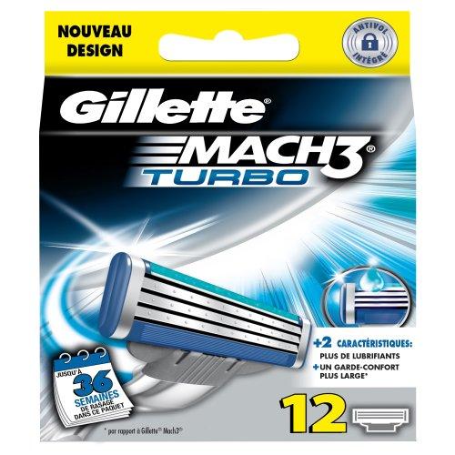 Gillette Rasierklingen für MACH3 Turbo, Packung mit 12 Klingen, mit Aloe und Vitamin E - Mach3 Gillette Rasierklingen 12