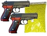 Nick and Ben Metall Softair-Pistole Set 2 Stück + 2000 Kugeln! G-22 schwarz braun Munition Federdruck ab 14 Jahre unter