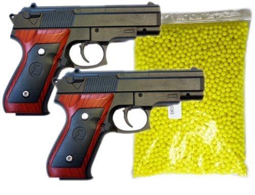 Kostüm Soft Braun - NICK and BEN Metall Softair-Pistole Set 2 Stück + 2000 Kugeln! G-22 schwarz braun Munition Federdruck ab 14 Jahre unter 0,5 Joule