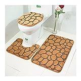 X-Life Badezimmer Teppich Set Badgarnitur 3 tlg. Set, Badematte + Toiletten-Vorleger + WC-Deckelbezug, Mikrofaser Wasserabsorbierende Rutschfest, 50x80 cm Braun