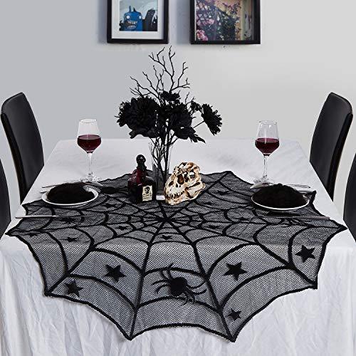 N&T NIETING 102cm rund schwarz Spitze Spider Web Mitteldecke Tuch, Schwarz Spider Web Mitteldecke Tischdecke Weihnachten, Halloween, Abendessen Scary Movie Nights