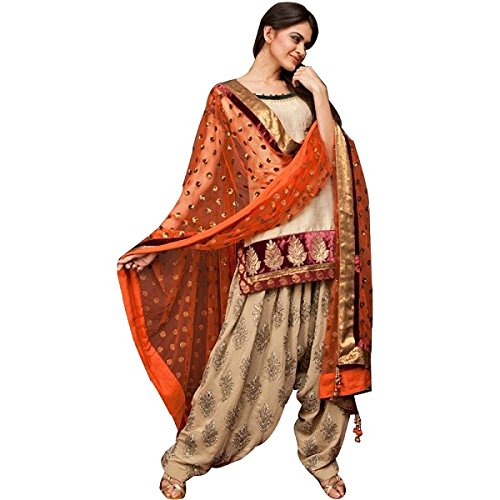 ethnic bazaar cotton beige semistitched patiala suit