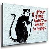 Graffiti Street Art Banksy Leinwand Bild 100x70cm - Leinwandbild fertig auf Keilrahmen - Kunstdrucke, Leinwandbilder, Wandbilder, Poster, Gemälde, Pop Art Deko Kunst Bilder