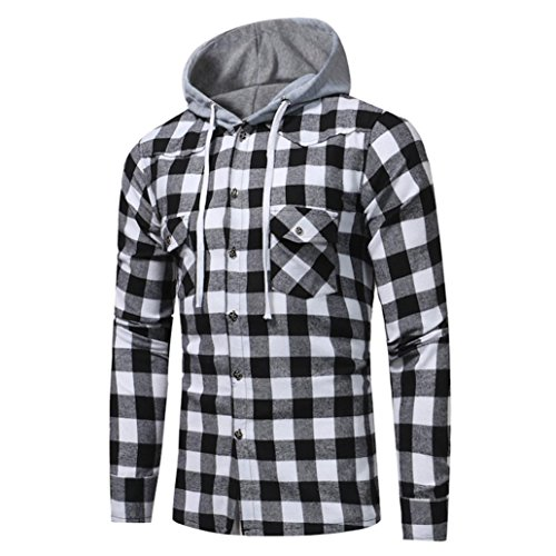VENMO Männer Langarm-Gitter gedruckt Plaid Kapuzenpulli mit Kapuze Sweatshirt mit Bluse Sports Freizeit Tops Warme Kapuzenpullover Hoodie Kapuzenpulli Jacke Mantel Mens Slim Fit T-Shirt (Black, - Trenchcoat Plaid