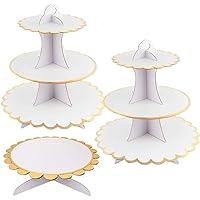 Lot de 3 supports pour cupcakes blancs à 3 niveaux et 1 étage, support pour gâteau, support pour cupcakes rond pour…