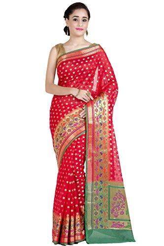 Chandrakala Women's Red Cotton Silk Banarasi Saree