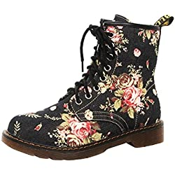 Beladla Zapatos De Mujer Botas De Mujer Sexy Botines ImpresióN Floral Botas De Mujer Zapatos De Mujer Botines De Tobillo Alto Cuadrado Moda OtoñO Invierno Zapatos