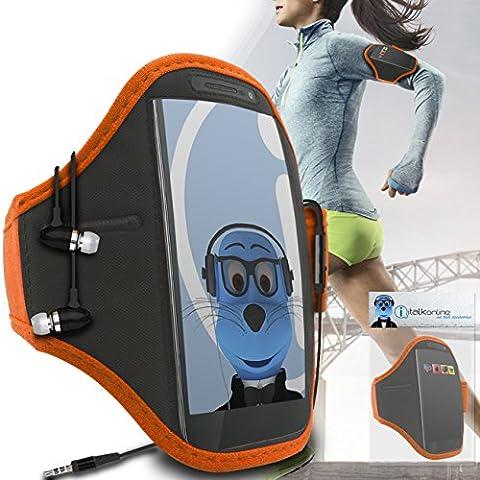 iTALKonline Motorola Droid Turbo 2 Arancione Nero regolabile Acqua / resistente all'umidità Sports GYM Jogging Correre copertura della cassa del bracciale della fascia di braccio con chiave di denaro cuffia Pocket include 3,5 millimetri di alluminio Cuffie Handsfree Mic e On / Off