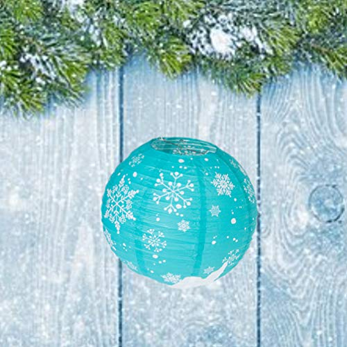 Uonlytech LED Papier Laterne, Schneeflocke Muster Weihnachten Faltlaterne, Schneeflocke Papier Laterne für Weihnachtsfeier (1 Stück, blau) -
