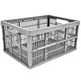 4 x 32L Plastic Folding Storage Container Basket Crate Box Stack Foldable Portable SILVER