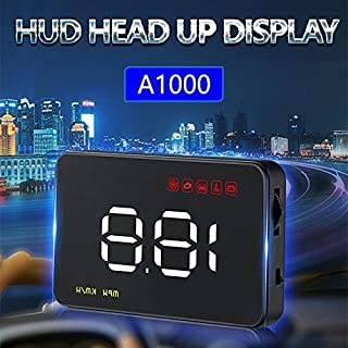 YUEWO Universal Car 3.5'' A1000 HUD Head Up Display Projector OBD Vehicle OverSpeed Speedometer Warning Alarm Speed/Water temperature/Voltage