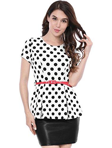 Allegra K Damen Kurzarm Kontrast Gürtel Polka Dots Schößchen Top Weiß XS(EU 34) (Formale Schößchen Bluse)
