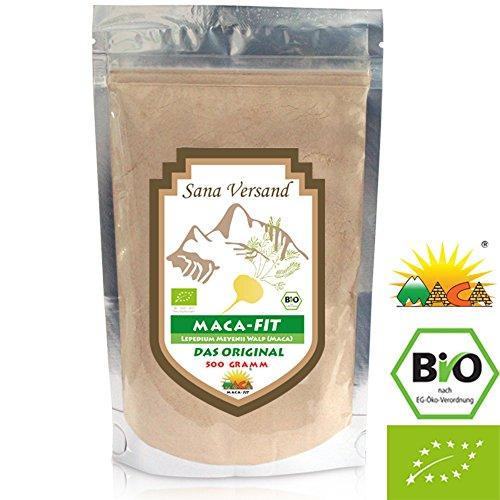 BIO Maca Pulver 500g Original aus Peru. Reines Maca Wurzel enthält Vitamine, Aminosäuren und Proteine für mehr Kraft, Konzentration und Energie. Vegan, glutenfrei auch für Allergiker, Superfood