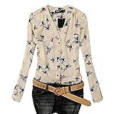 Damen Bluse, GJKK Damen Mode Elegant Vogel Gedruckt Chiffon Bluse Langarm Casual Slim Shirts Oberteil Casual Tunika Langarmshirt Tops (A, XL)