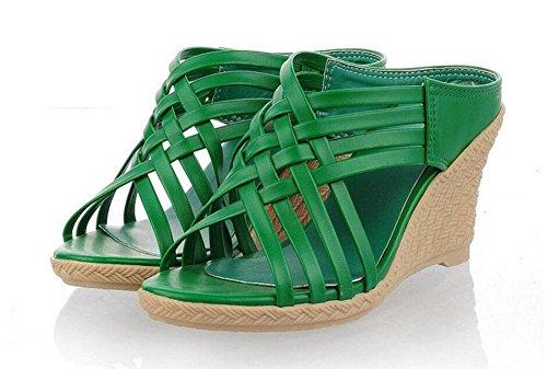 SHINIK Sandales pour femmes Pentes Pantoufles romaines Peep Toe Pumps Talon Chaussures Beige Jaune Rouge Vert Green